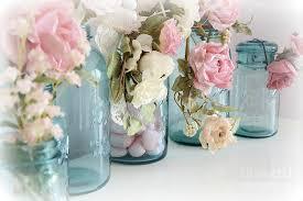 shabby chic flowers chic roses blue aqua jars roses in aqua blue