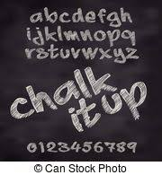 clip art vector of chalk sketch alphabet a set of sketch
