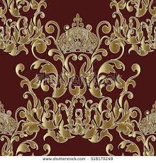 baroque seamless patternfloral damask vector background stock