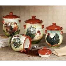 rooster canisters kitchen products 4 charming wooden shops canister set ebay
