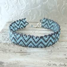 beaded woven bracelet images Blue zig zag seed bead bracelet iris elm jewelry unique jpg