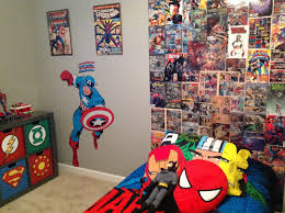 my sons super hero bedroom homemade backboard from comic books i