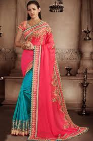 color designer striking pink turquoise color designer half half saree with