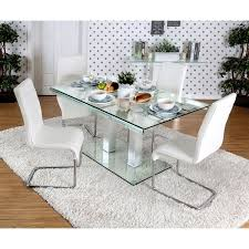 Contemporary Glass Dining Room Sets Furniture Of America Ezreal Contemporary Tempered Glass Silver