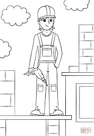 construction worker coloring page free printable coloring pages