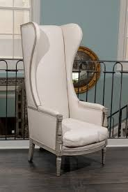 High Back Armchair American Upholstered Painted Wood High Back Wing Chair At 1stdibs