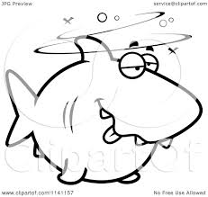 cartoon clipart of a black and white drunk shark vector outlined
