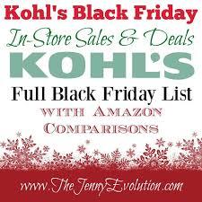best black friday deals at kohls kohl u0027s black friday in store sales list amazon comparison