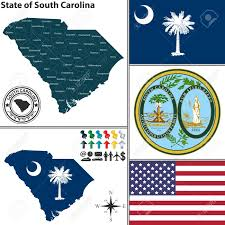 S Carolina State Flag Vector Set Of South Carolina State With Flag And Seal Royalty Free