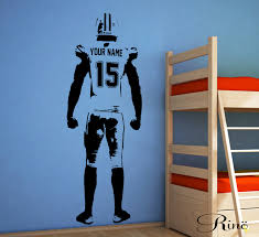 football wall art wall decal decor custom jersey name and number sticker american football bedroom personalized football vinyl player 1