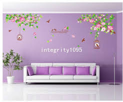 Wall Decals For Dining Room Hibiscus Flowers Tree Cage Romantic Bedroom Living Room Dining