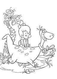 pebbles and dino coloring pages for kids printable free