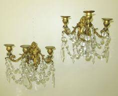 Crystal Candle Sconce Pretty Antique French Brass Crystal Sconce Candle Holder