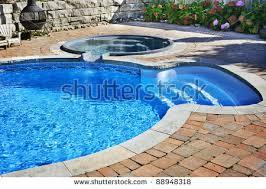 Pools Backyard Residential Inground Swimming Pool Backyard Waterfall Stock Photo