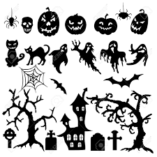 set of halloween silhouette on white background royalty free