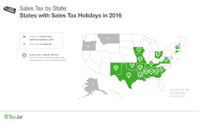 when are sales tax holidays in 2016
