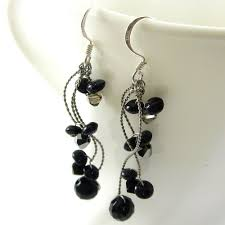 black dangle earrings black onyx and swarovski crystals drop and dangle earrings with