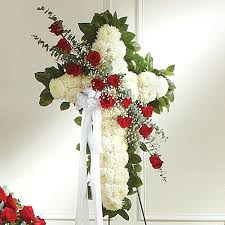 funeral flowers delivery cross on easel and white flower delivery nyc florist