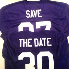 thanksgiving custom save the date in purple and white products in sports pinterest