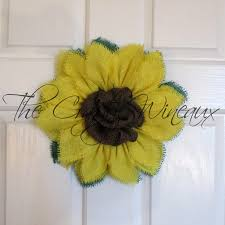 sunflower mesh wreath small yellow burlap sunflower wreath the crafty wineaux
