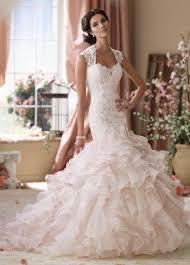 pink wedding dress blush pink mermaid ruffled skirt wedding dress 114276 crawley