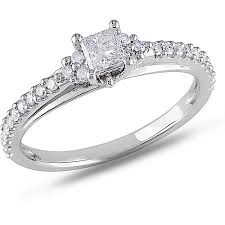 2 carat white gold engagement ring miabella 1 2 carat t w princess and cut engagement
