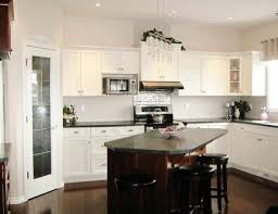 kitchen white cabinets black countertops gray walls what colour