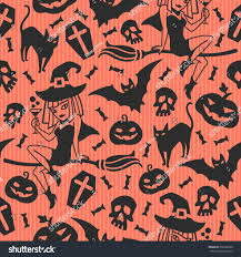 orange black halloween background happy halloween pattern greeting seamless background stock vector