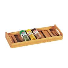 couverts en bambou range épices de tiroir en bambou pour 8 flacons