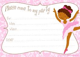 free printable diy ballerina invitation template party