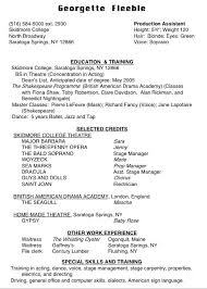 musical theatre resume example resume templates for beginners