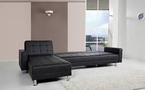 Spencer Corner Sofa Bed With Interchanging Chaise In Black Faux - Chaise corner sofa bed