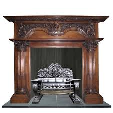 antique large georgian oak mantel grinling gibbons style