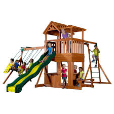 Gorilla Playsets Catalina Wooden Swing Set Furniture Wooden Playsets With Blue Slider And Swings For Kids