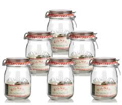 6 x kilner traditional 1 litre airtight clip top preserve glass