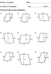 perimeter of a parallelogram worksheets mathvine com