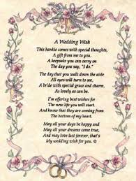 wedding wishes poem wedding hankie a wedding wish from friends to the with poem