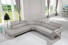 Gray Leather Sectional Sofas Casa Graphite Modern Grey Leather Sectional Sofa