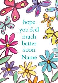 get better cards butterfly flowers personalised get well soon card