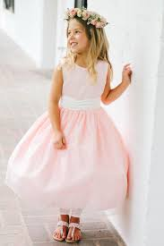 flower girl dresses blush sleeveless satin bodice flower girl dress with sparkle tulle