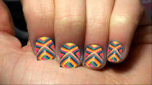 rainbow tribal nail art tutorial short nails youtube