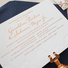 wedding invitations gold foil copper foil sted wedding invitations with blind impress lace