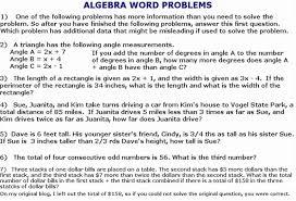 algebraic word problems worksheet worksheets