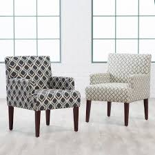 living room arm chairs funiture grey fabric wingback accent chair with cushion and