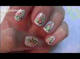 for short nails easy abstract christmas tree nail art design