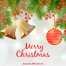 merry christmas background with christmas decorations vector