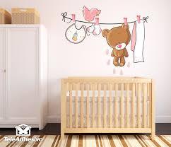 vinilo infantil oso en el tendedero rosa vinilo infantil wall sticker bear on the clothesline with pink details ideal for decorating girl s room