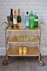 vintage 1960s 3 tier gold drinks cart retro hostess trolley side