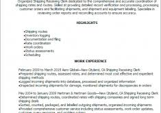 Resume Shipping And Receiving Sensational Shipping Clerk Resume 1 Professional Shipping