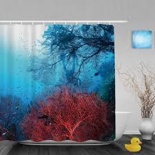 marine life decor bathroom font shower curtain coral coloured